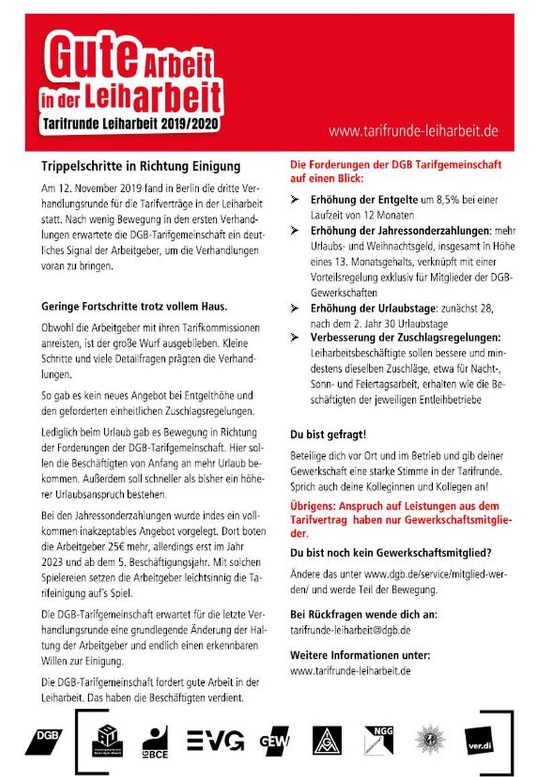 Leiharbeit, Deutscher Gewerkschaftsbund, Tarifrunde 2019/2020, Besondere Dienste NRW,